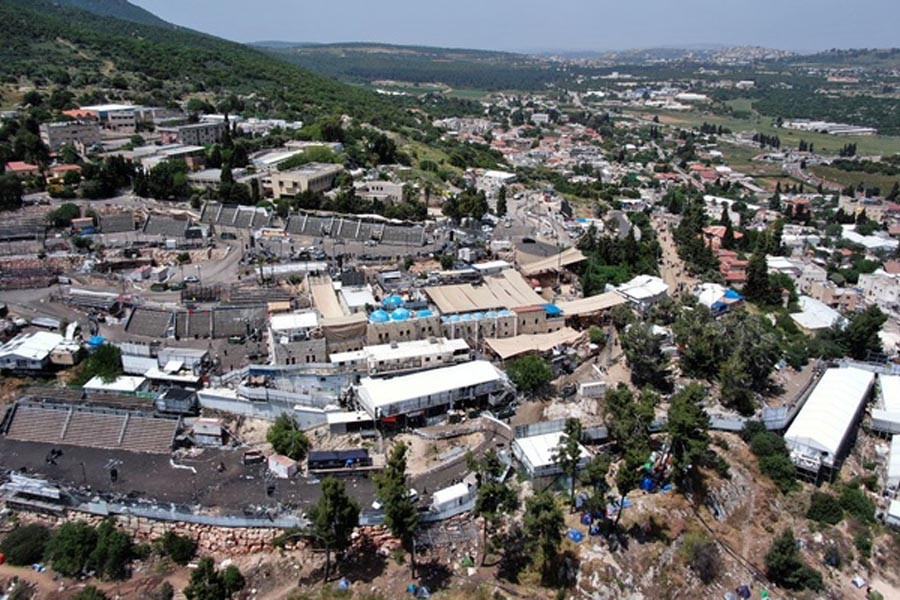 A view of Mount Meron where fatalities were reported among the thousands of ultra-Orthodox Jews, who gathered at the tomb of a 2nd-century sage for annual commemorations that include all-night prayer and dance, Israel Apr 30, 2021. REUTERS