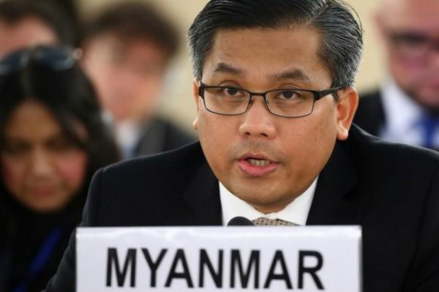 Myanmar's United Nations ambassador Kyaw Moe Tun addresses the UN Human Rights Council in Geneva, Switzerland on March 11, 2019 — Reuters/Files