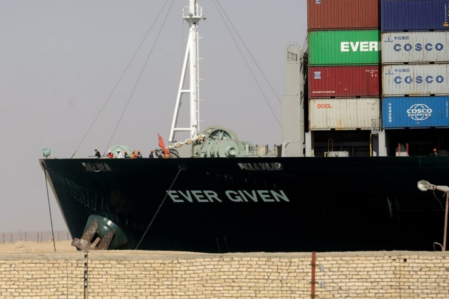 Ship Ever Given, one of the world's largest container ships, is seen after it was fully floated in Suez Canal, Egypt on March 29, 2021 — Reuters/Files