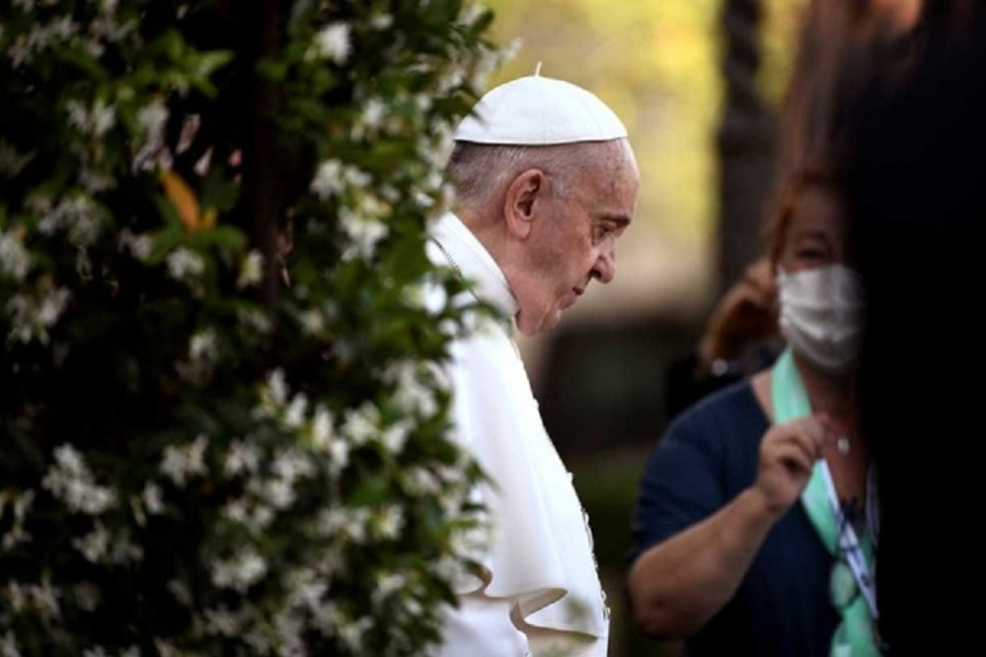 Pope Francis arrives to leads Holy Rosary prayer in Vatican gardens to end the month of May, at the Vatican, May 31, 2021. REUTERS