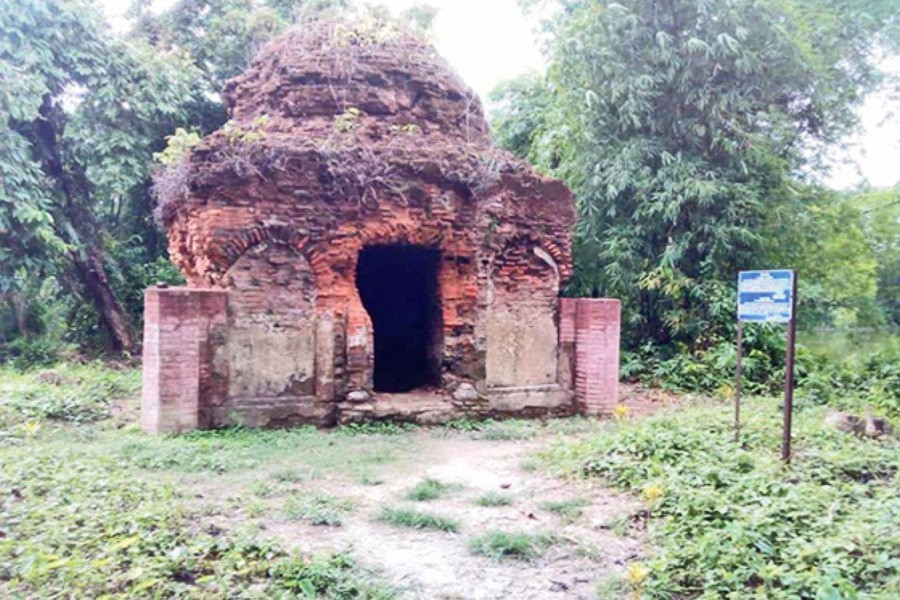 Photo shows the mosque in Chhoto Soondar village under Rampur union in Chandpur Sadar Upazila has turned bushy due to lack of maintenance and care — FE Photo