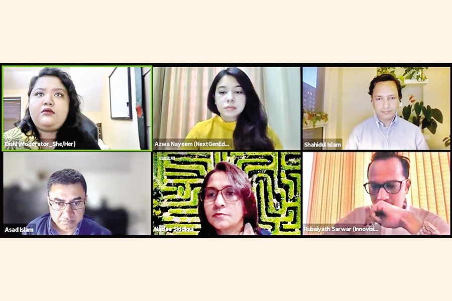 Participants at a webinar on 'Building on the achievements for an equitable education' hosted by Innovision Consulting in association with The Financial Express on Wednesday