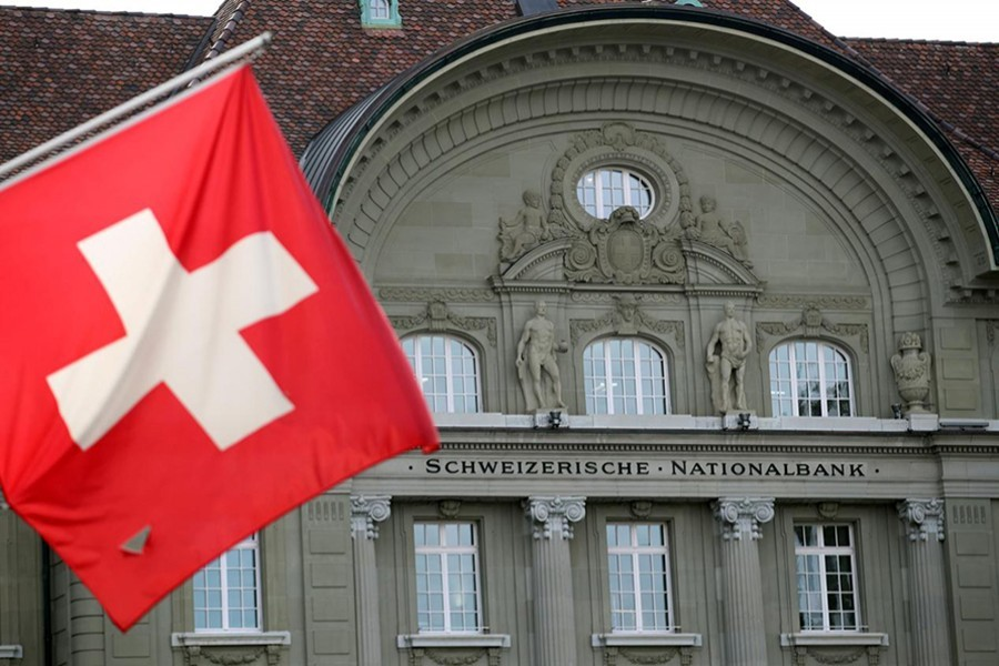 A Swiss flag is pictured in front of the Swiss National Bank (SNB) in Bern, Switzerland on May 2, 2019 — Reuters photo