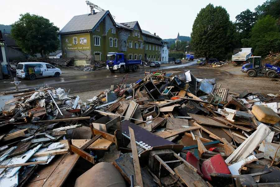 Debris are seen in an area affected by floods caused by heavy rainfalls in Schuld of Germany on Tuesday -Reuters photo