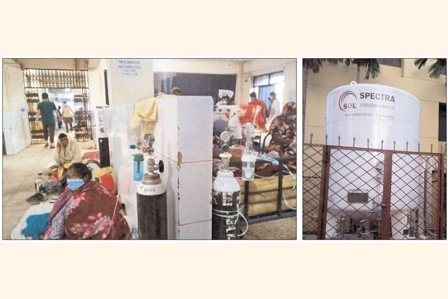 Corona patients are on the floor at Chandpur General Hospital (left), liquid Oxygen Plant on the hospital premises (right) — FE Photos