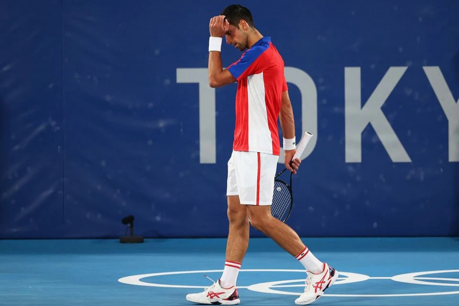Novak Djokovic of Serbia reacts during his semifinal match against Alexander Zverev of Germany — Reuters photo