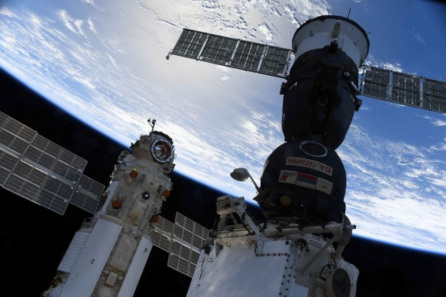 The Nauka (Science) Multipurpose Laboratory Module is seen docked to the International Space Station (ISS) next to next to Soyuz MS-18 spacecraft on July 29, 2021 — Handout via REUTERS