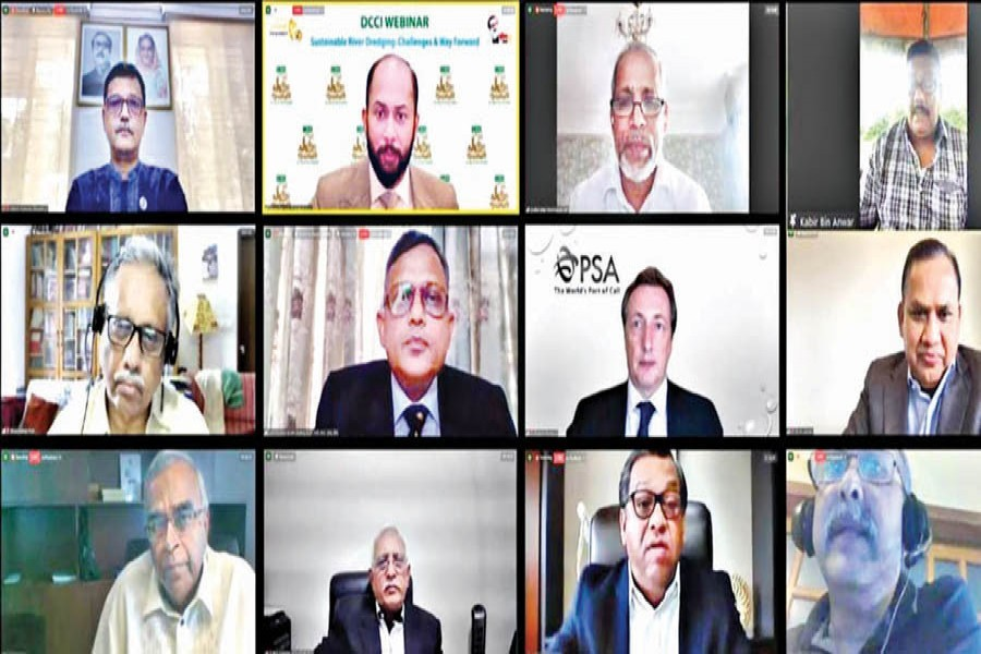 """(From top left), State Minister for Shipping Khalid Mahmud Chowdhury attends as the chief guest a webinar titled """"Sustainable River Dredging: Challenges and Way forward"""" organised by Dhaka Chamber of Commerce & Industry (DCCI) virtually on Saturday, with DCCI President Rizwan Rahman in the chair while former FBCCI president Md Shafiul Islam Mohiuddin and Senior Secretary of Ministry of Water Resources Kabir Bin Anwar spoke as special guests. Professor Emeritus at Centre for Climate Change and Environment Research under BRAC University Ainun Nishat (extreme left, middle row) presented the keynote paper"""