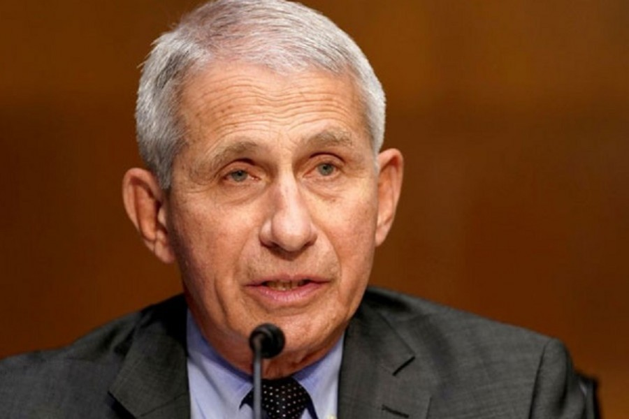 Dr Anthony Fauci, director of the National Institute of Allergy and Infectious Diseases, gives an opening statement during a Senate Health, Education, Labor and Pensions Committee hearing to discuss the on-going federal response to COVID-19, at the US Capitol in Washington, DC, US, May 11, 2021. Greg Nash/Pool via REUTERS
