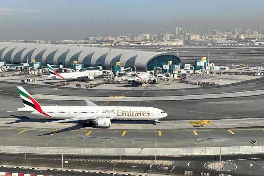 Emirates airliners are seen on the tarmac in a general view of Dubai International Airport in Dubai in January this year -Reuters file photo