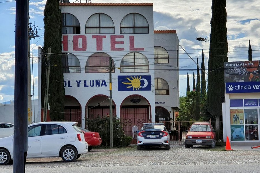 A police patrol car is parked outside the Sol y Luna hotel after gunmen stormed the hotel and kidnapped some 20 foreigners believed to be mostly from Haiti and Venezuela, according to state's attorney general office, in Matehuala, in San Luis Potosi state, Mexico on September 14, 2021 — Reuters photo