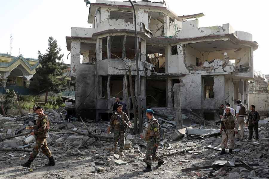 Afghan National Army (ANA) soldiers keeping watch a site of a car bomb blast in Kabul on August 4 this year -Reuters file photo