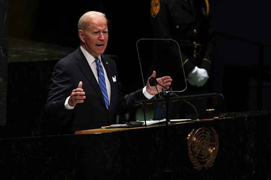 US President Joe Biden speaking during the 76th Session of the General Assembly at UN Headquarters in New York on Tuesday –Reuters Photo
