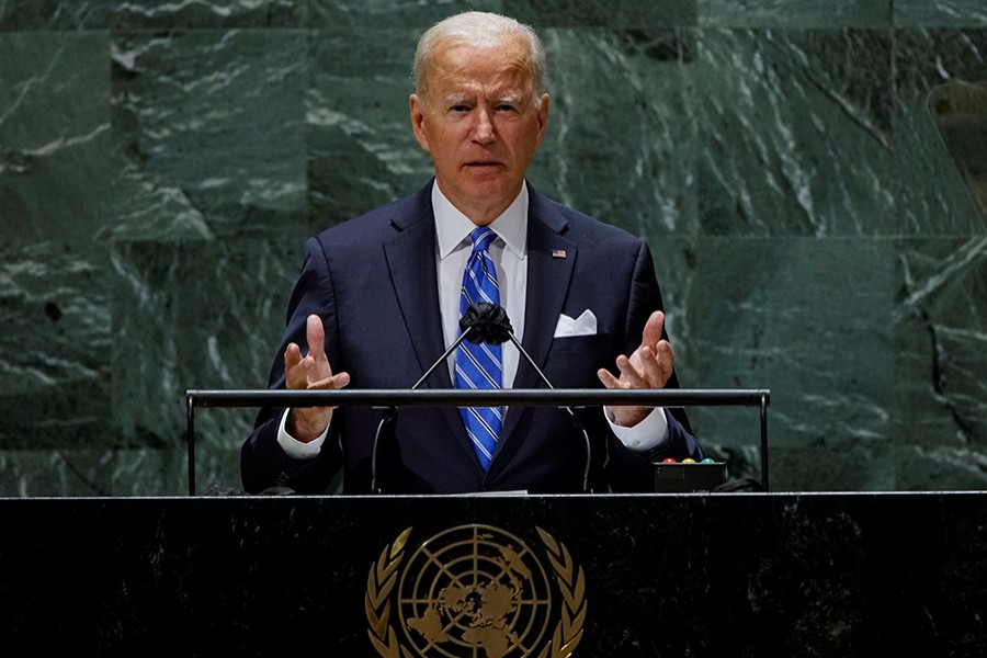 US President Joe Biden speaks during the 76th Session of the U.N. General Assembly in New York City, US on September 21, 2021 — Reuters photo