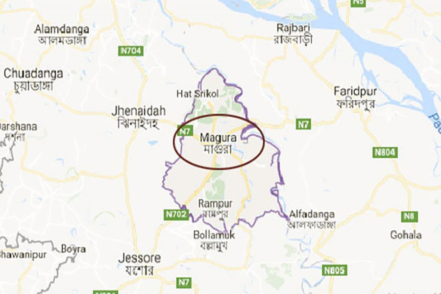 Google map showing Magura district.