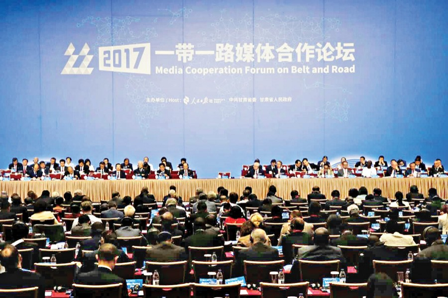The inauguration of Media Cooperation Forum on the 'Belt and Road' initiative in progress at Dunhuang in Gansu province of China on Tuesday.— FE Photo