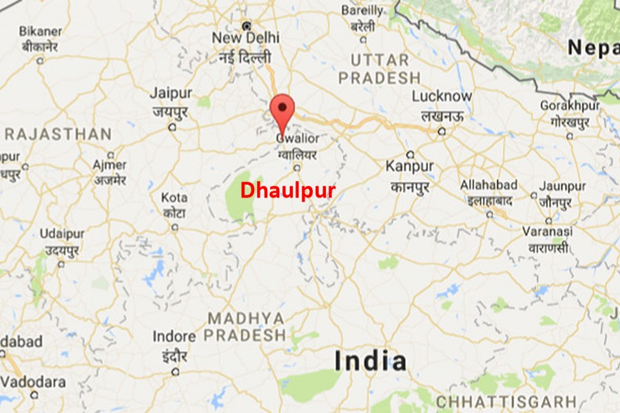 Google map showing Dhaulpur district of Rajasthan state in Northern India