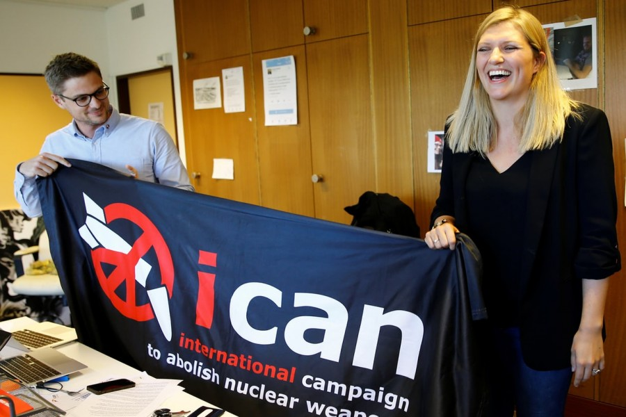 Beatrice Fihn (R), Executive Director of the International Campaign to Abolish Nuclear Weapons or ICAN celebrates after winning the Nobel Peace Prize 2017, in Geneva, Switzerland Oct 6, 2017.  - Reuters photo