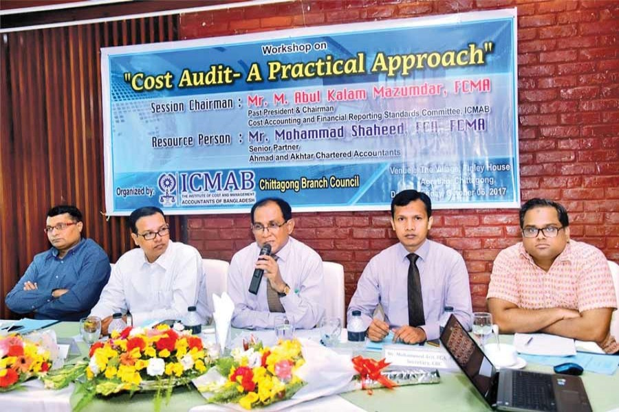 Golam Kibria, Chairman of the Chittagong Branch Council of the ICMAB, presided over a recent workshop titled 'Cost Audit - A Practical Approach' at Agrabad in Chittagong.