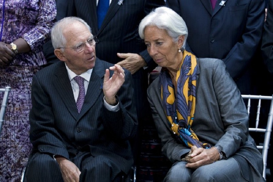 International Monetary Fund (IMF) Managing Director Christine Lagarde speaks during a news conference in Washington, Saturday, October 14, 2017.  AP Photo