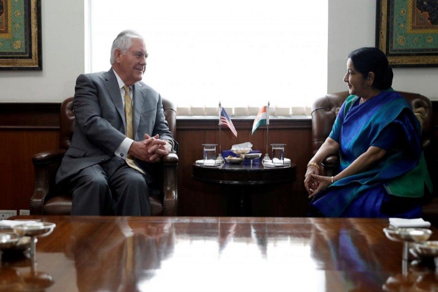 US Secretary of State Rex Tillerson meets his Indian counterpart, Sushma Swaraj, at the Indian Foreign Ministry in New Delhi, India, October 25, 2017. Reuters
