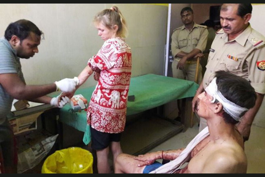 The couple say they were attacked by some unknown people (Photo courtesy: Laxmi Kant)
