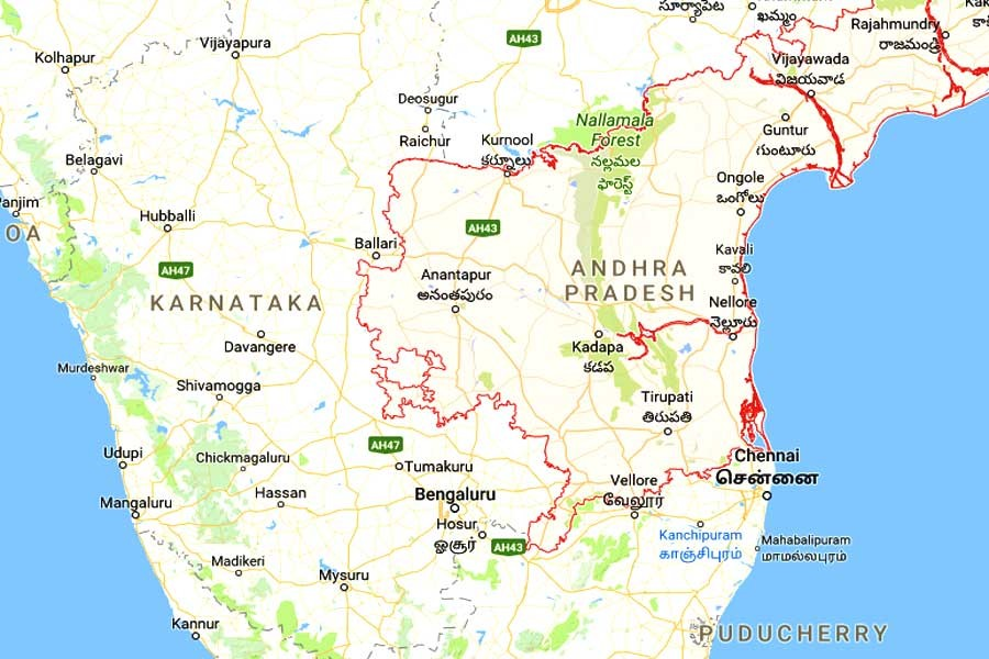 Google map showing the southern Indian state of Andhra Pradesh