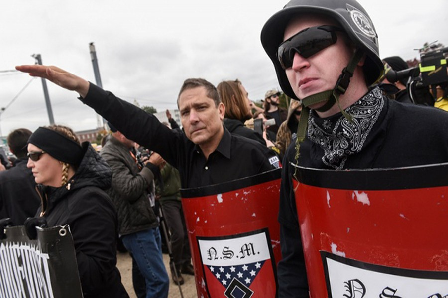 SHELBYVILLE: White nationalists and neo-Nazis participate in a 'White Lives Matter' rally in Shelbyville on Saturday.	— Reuters