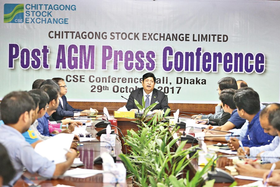 Chairman of Chittagong Stock Exchange (CSE) Dr. AK Abdul Momen addressing the post-AGM (annual general meeting) press briefing Sunday.