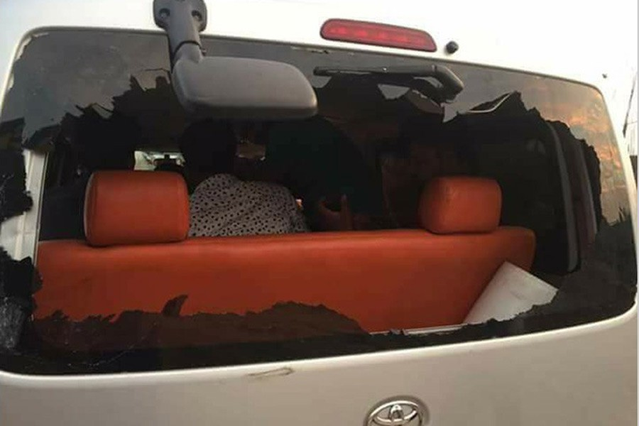 One of the vehicles damaged during Saturday's attack. Photo courtesy: BNP