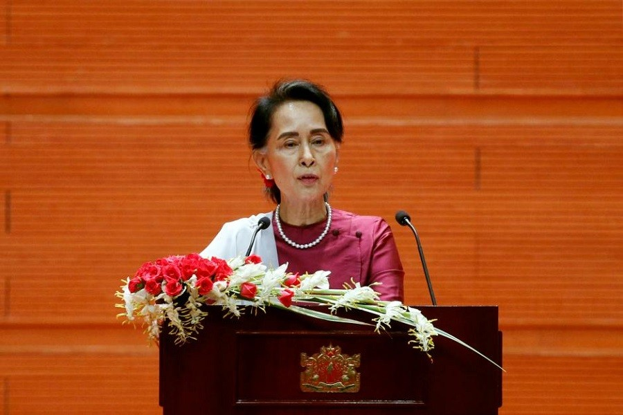 Myanmar State Counselor Aung San Suu Kyi delivers a speech to the nation over Rakhine and Rohingya situation, in Naypyitaw, Myanmar September 19, 2017. Reuters