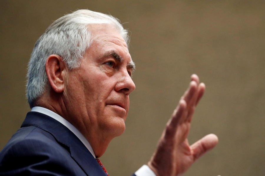 US Secretary of State Rex Tillerson gestures while speaking to staff members at the US Mission to the UN in Geneva, Switzerland October 26, 2017. Reuters