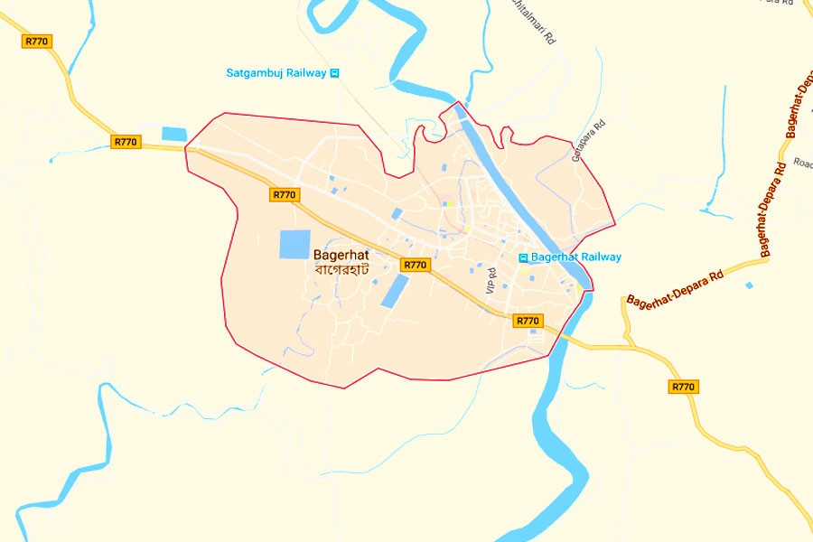Google map showing Bagerhat district