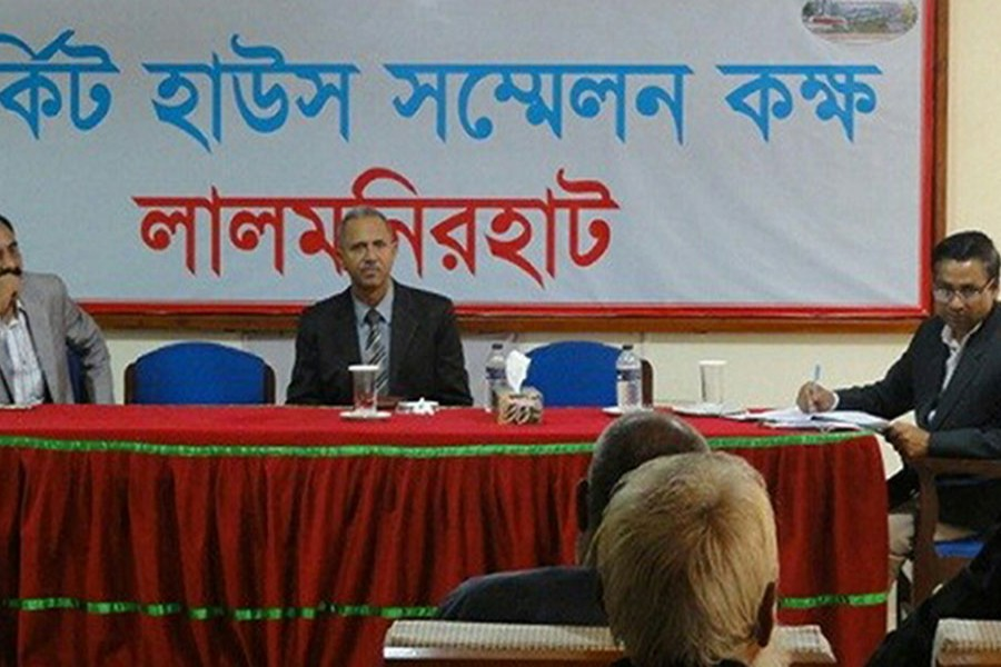 A three-member investigation team of the International Crimes Tribunal talks to victims  of the crimes against humanity committed during liberation war at a programme in Lalmonirhat on Sunday. FE Photo