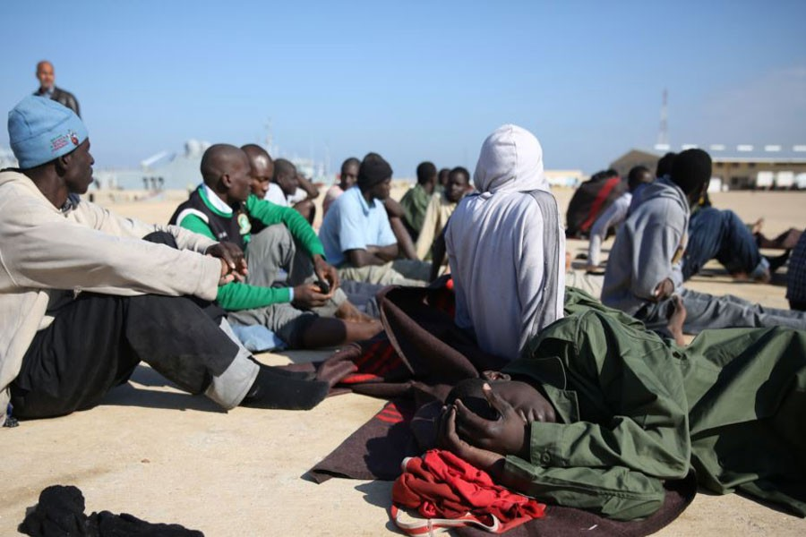 African migrants rest after their rescue by the Libyan Coast Guard west of Tripoli, Dec. 21, 2015. (AP file photo used for representational purpose)