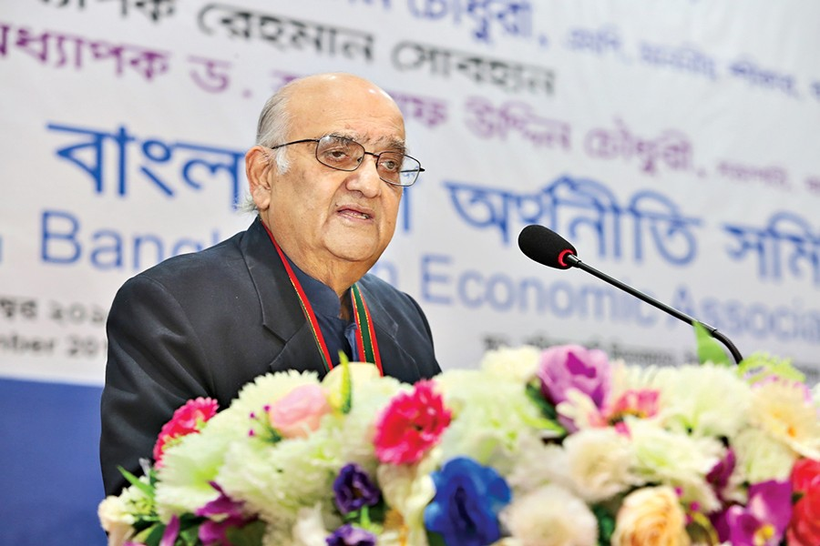 Prof Dr Rehman Sobhan speaks at the 20th BEA conference in the city on Thursday.— FE Photo
