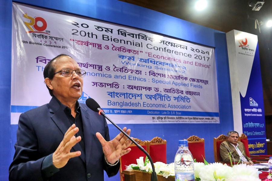 Former Bangladesh Bank Governor Prof Dr Atiur Rahman speaking at the 20th Biennial Conference of Bangladesh Economic Association at the auditorium of Institution of Diploma Engineers on Friday. — FE Photo