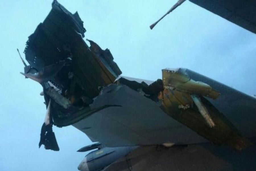 Photos believed to show damage to aircraft following a previous attack on New Year's Eve. - BBC