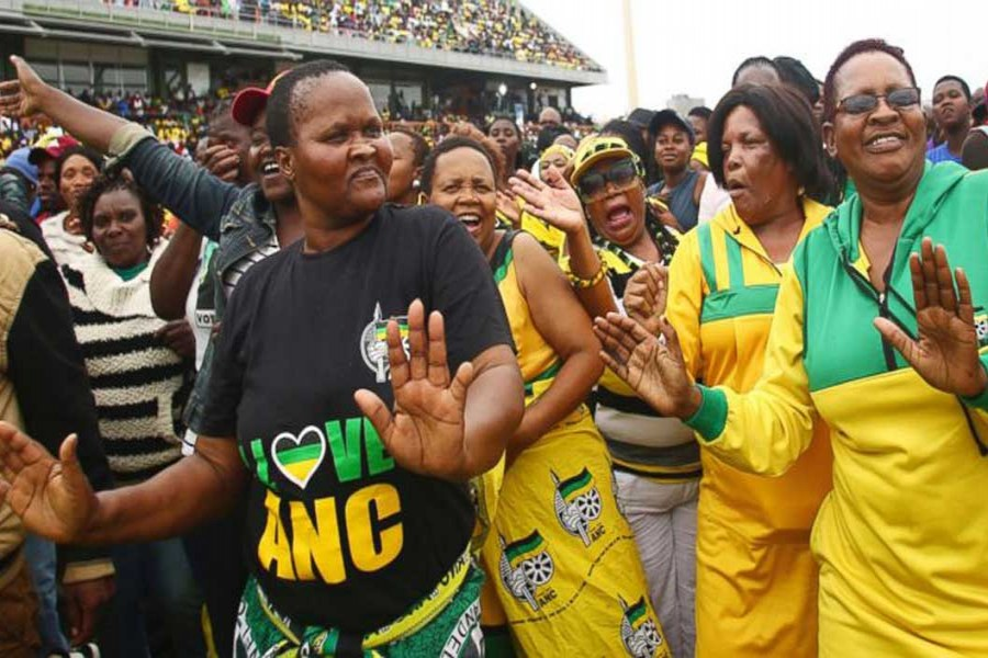 Ruling African National Congress (ANC) party supporters attend the party's 106th birthday celebrations in East London, South Africa, Saturday, Jan. 13, 2018.