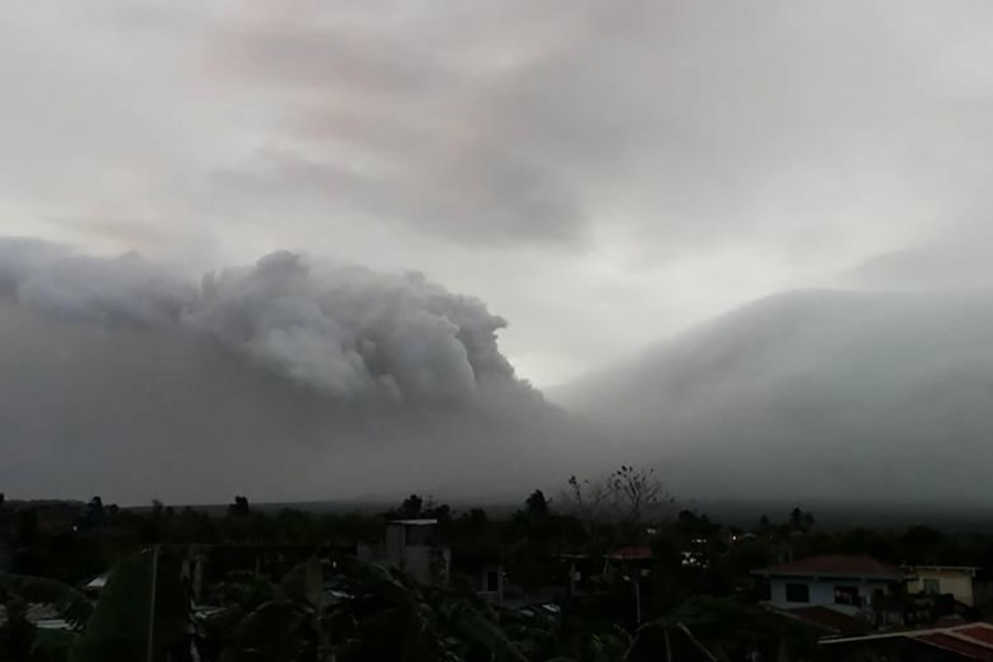 Mount Mayon erupts in Legazpi City, Philippines on Saturday in this still obtained from social media. Picture taken January 13, 2018. - via Reuters