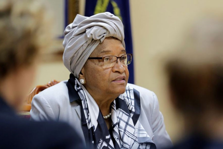 Ellen Johnson Sirleaf attends a news conference at the Presidential Palace in Monrovia, Liberia, Oct 12, 2017. (Reuters)