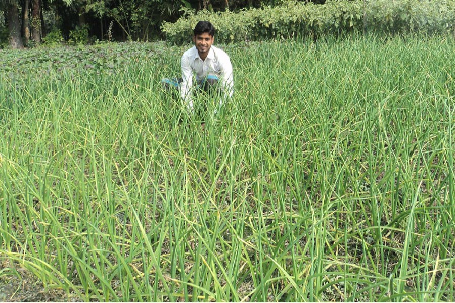 A farmer sitting in a pensive mood in his field in Dakaher village under Dupchanchia upazila of Bogra on Wednesday    — FE Photo