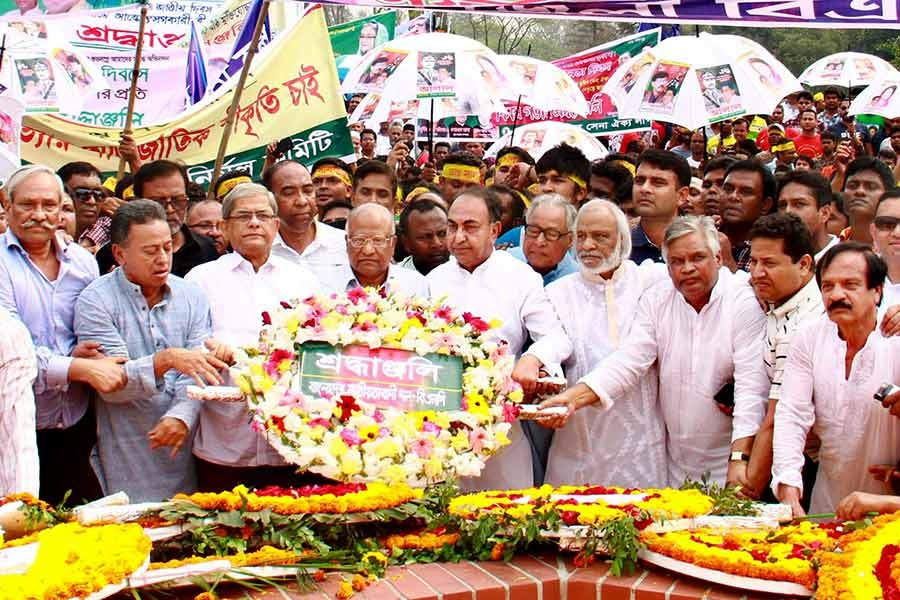 BNP leaders are placing wreath at the National Mausoleum marking the 48th Independence Day. -Focus Bangla Photo