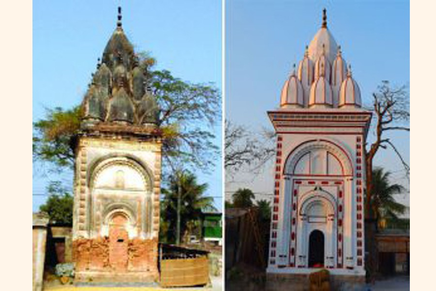 A monastery in Rajshahi, before and after renovation — FE Photo