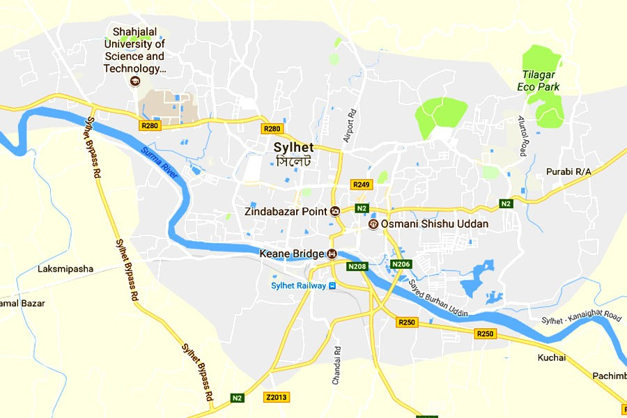 Google map showing Sylhet division