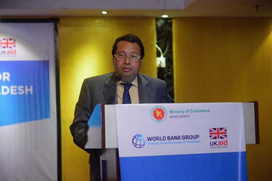 Commerce Secretary Shubhashish Bose speaking at a discussion titled 'Women in Business: Dhaka Roundtable on Strengthening Market Access and Integration into Corporate Value Chains' at a city hotel recently