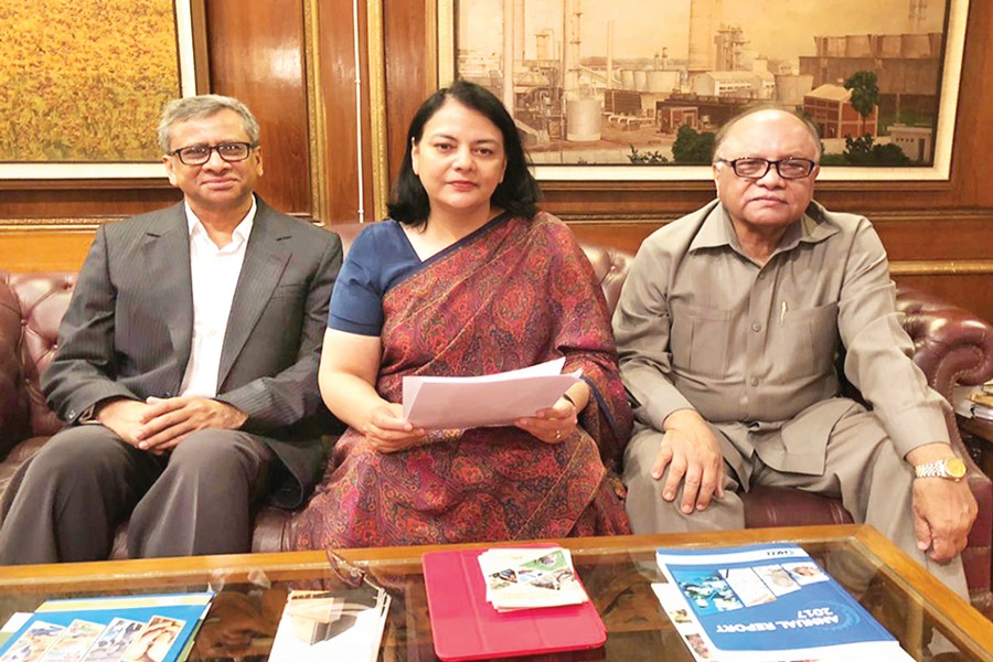 President of Metropolitan Chamber of Commerce and Industry, Dhaka (MCCI) Nihad Kabir, Vice President Golam Mainuddin and Chairman of Tariff and Taxation Sub-Committee Hasan Mahmood discussing the MCCI's comments on the national budget for fiscal year 2018-19 on Friday
