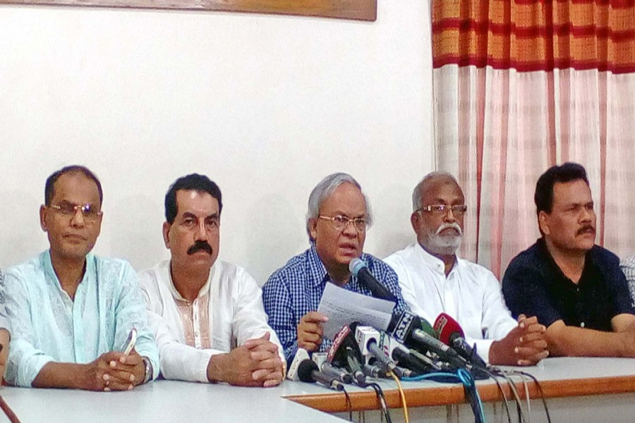 BNP senior joint secretary general Ruhul Kabir Rizvi speaking at a press conference at the party's Nayapaltan central office in the city on Sunday                  	— Focus Bangla