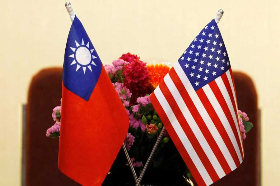 Flags of Taiwan and US are placed for a meeting between US House Foreign Affairs Committee Chairman Ed Royce speaks and with Su Chia-chyuan, President of the Legislative Yuan in Taipei, Taiwan, March 27, 2018. Reuters