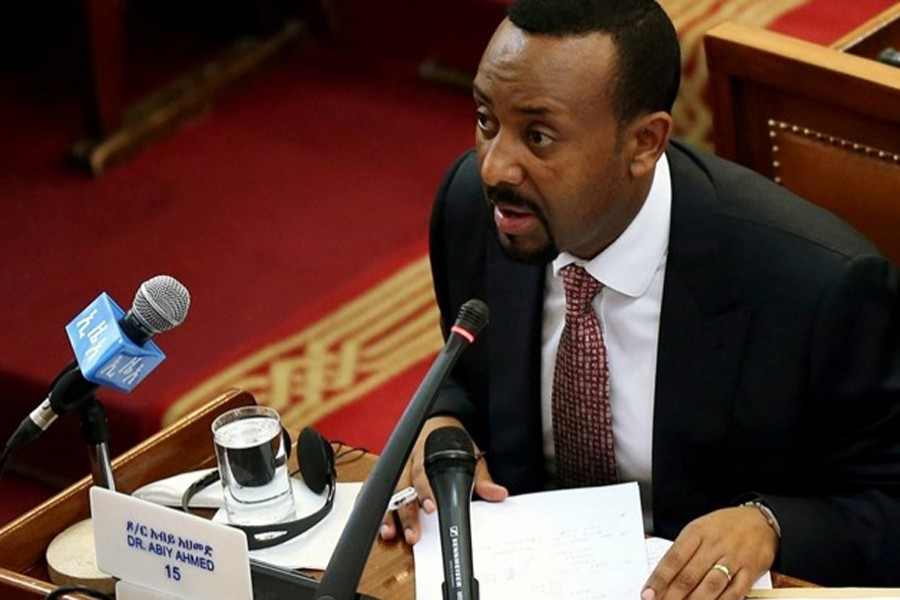 Ethiopia's newly elected Prime Minister Abiy Ahmed addresses the House of Peoples' Representatives in Addis Ababa, Ethiopia on April 19, 2018. Reuters/File photo